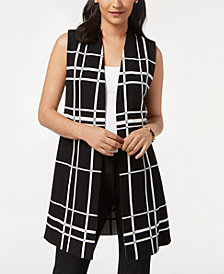Alfani Petite Plaid Open-Front Vest, Created for Macy's