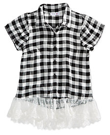 Beautees Big Girls Lace-Hem Plaid Shirt