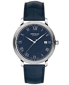 Men's Swiss Automatic Tradition Date Automatic Blue Alligator Leather Strap Watch 40mm