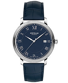 Montblanc Men's Swiss Automatic Tradition Date Automatic Blue Alligator Leather Strap Watch 40mm