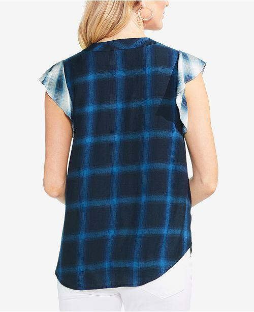 Top Sleeve Flutter Camuto Vince Plaid Petrol Blue xTq0UOwU
