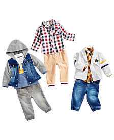 First Impressions Baby Boys Denim Jacket, Cardigan, Shirts & Jogger Pants, Created for Macy's