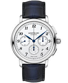 Montblanc Men's Swiss Automatic Chronograph Star Legacy Blue Sfumato Alligator Leather Strap Watch 42mm
