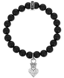 King Baby Onyx (8mm) Bead & Cubic Zirconia Crown Heart Stretch Bracelet