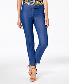 Anne Klein Soft Denim Extended-Tab Ankle Pants