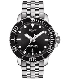 Men's Swiss Automatic T-Sport Seastar 1000 Gray Stainless Steel Bracelet Diver Watch 43mm