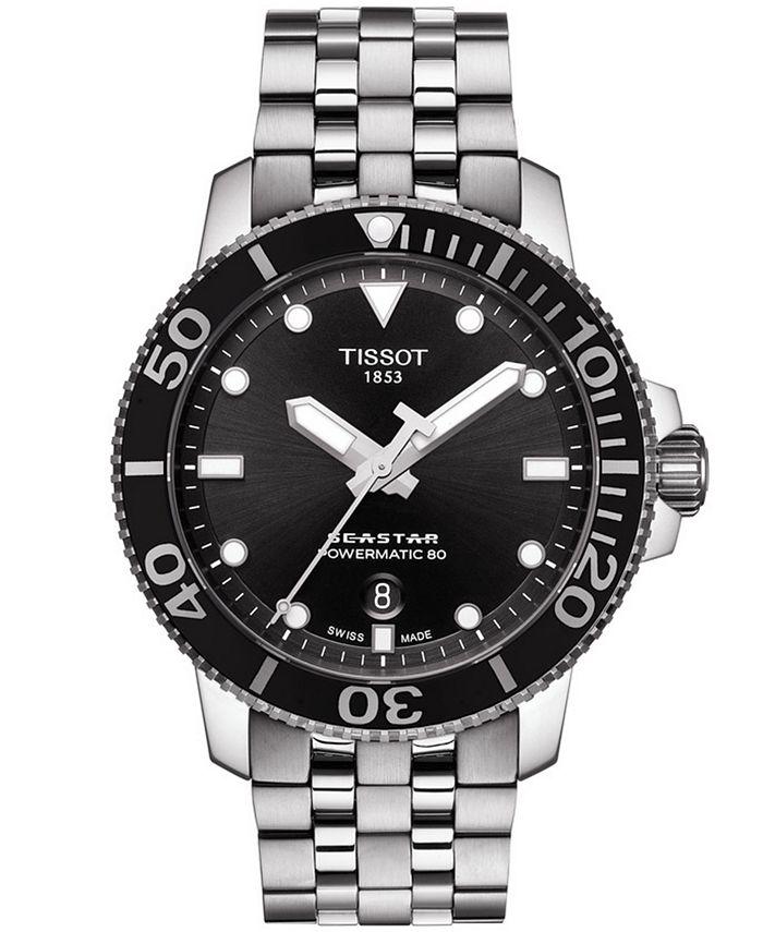 Tissot - Men's Swiss Automatic T-Sport Seastar 1000 Gray Stainless Steel Bracelet Watch 43mm