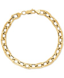 Unisex Large Oval Link Bracelet in 10k Gold