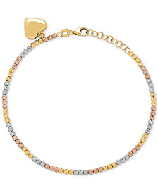 Tricolor Beaded Heart Charm Bracelet in 10k Gold, White Gold & Rose Gold