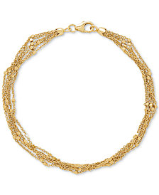 Multi-Strand Square Bead Link Bracelet in 14k Gold
