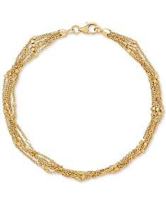 0427b40b7 Multi-Strand Square Bead Link Bracelet in 14k Gold