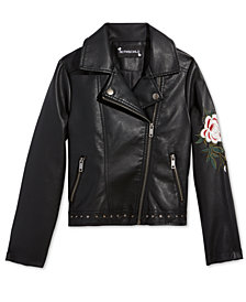 S. Rothschild Big Girls Embroidered Faux-Leather Cropped Moto Jacket