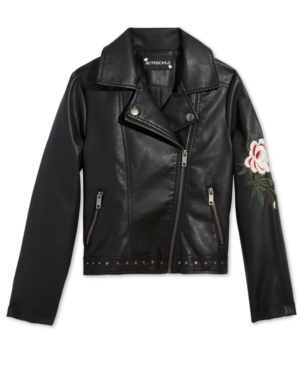 S Rothschild Big Girls Embroidered FauxLeather Cropped Moto Jacket