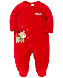 Little Me Baby Boys Velour Reindeer Footed Coverall