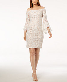 Xscape Embroidered Off-The-Shoulder Bell-Sleeve Dress