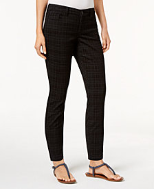 Style & Co Petite Plaid Skinny Jeans, Created for Macy's