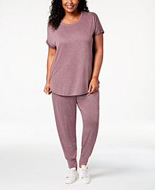 Alfani Plus Size Solid Pajama Top & Jogger Pants Sleep Separates, Created for Macy's