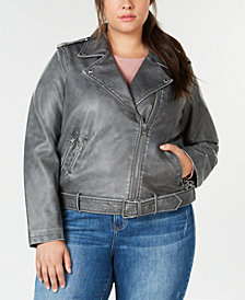 Levi's® Plus Size Faux-Leather Belted Moto Jacket