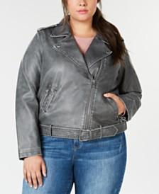 Levi's® Plus Size Faux-Leather Belted Moto Jacket