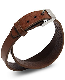 Kenneth Cole Reaction Men's Double-Wrap Leather Bracelet