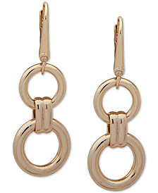 DKNY Gold-Tone Link Double Drop Earrings