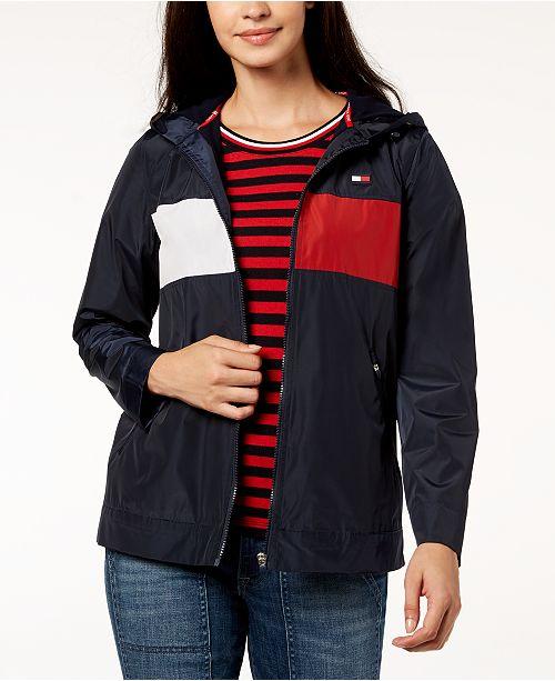 Tommy Hilfiger Hooded Windbreaker Jacket - Jackets   Blazers - Women ... 035707e0d2