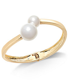 I.N.C. Gold-Tone & Imitation Pearl Bangle Bracelet, Created for Macy's