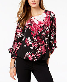 Alfani Petite Printed Grommet-Sleeve Bubble Top, Created for Macy's