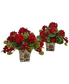 """2-Pc. 11"""" Geranium Flowering Artificial Plant Set in Floral Planters"""