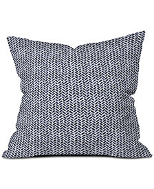 Deny Designs Little Arrow Design Co Arcadia Watercolor Herringbone in Indigo Throw Pillow