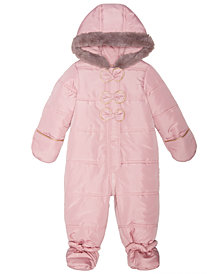 First Impressions Baby Girls Hooded Bows Footed Snowsuit, Created for Macy's