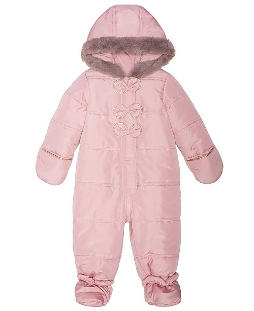 b483761d5 Baby Girls Hooded Bows Footed Snowsuit