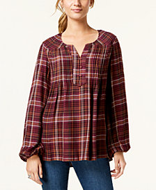 Style & Co Petite Plaid Peasant Top, Created for Macy's