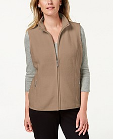 Petite Fleece Zip-Front Vest, Created for Macy's