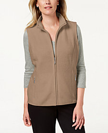 Karen Scott Petite Zeroproof Zipper Vest, Created for Macy's