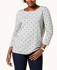 Karen Scott Petite Dot-Print 3/4-Sleeve Sweater, Created for Macy's
