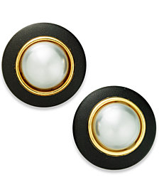 I.N.C. Gold-Tone Imitation Pearl & Faux Leather Button Stud Earrings, Created for Macy's