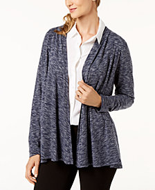 Karen Scott Petite Space-Dyed Open-Front Cardigan, Created for Macy's