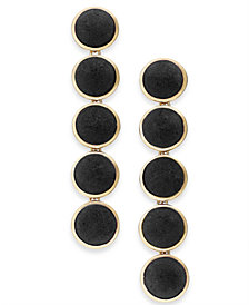 I.N.C. Gold-Tone Fabric Button Drop Earrings, Created for Macy's