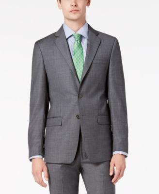 Men's Slim-Fit Stretch Gray Sharkskin Suit Jacket