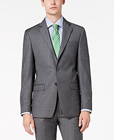 Men's Slim-Fit Stretch Gray Sharkskin Suit Jacket
