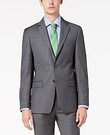 Calvin Klein Men's Slim-Fit Stretch Gray Sharkskin Suit Jacket