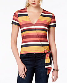 Self Esteem Juniors' Striped Wrap Top