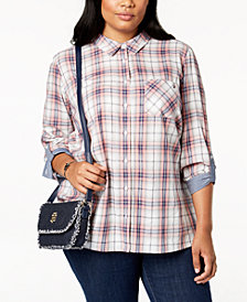 Tommy Hilfiger Plus Size Plaid Utility Shirt, Created for Macy's