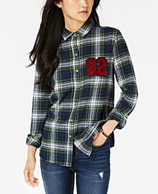 Polly & Esther Juniors' Plaid Patch Button-Up Shirt