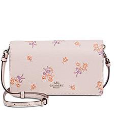 COACH Floral Bow Print Foldover Crossbody