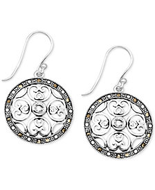Crystal & Marcasite Circle Drop Earrings in Fine Silver-Plate