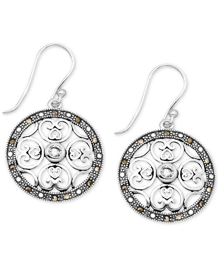 Macy's - Crystal & Marcasite Circle Drop Earrings in Fine Silver-Plate