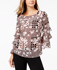 Alfani Printed Ruffled-Sleeve Blouse, Created for Macy's