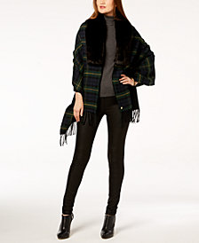 Lauren Ralph Lauren Faux-Fur Plaid Poncho